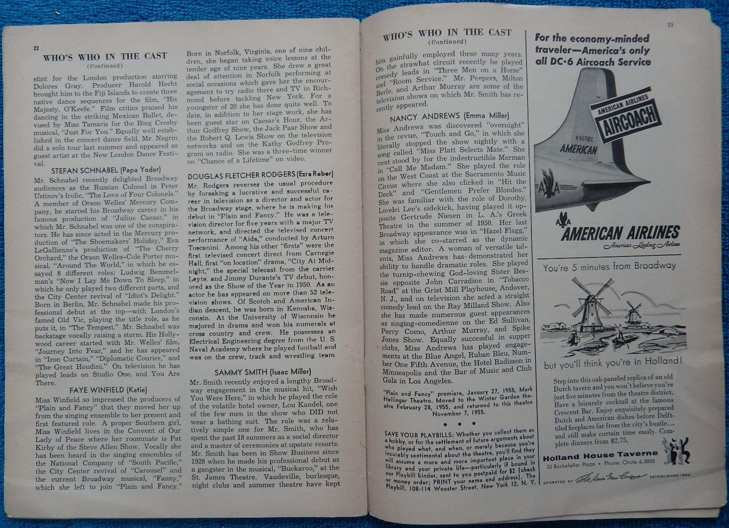 Plain and Fancy Playbill Pages 22-23