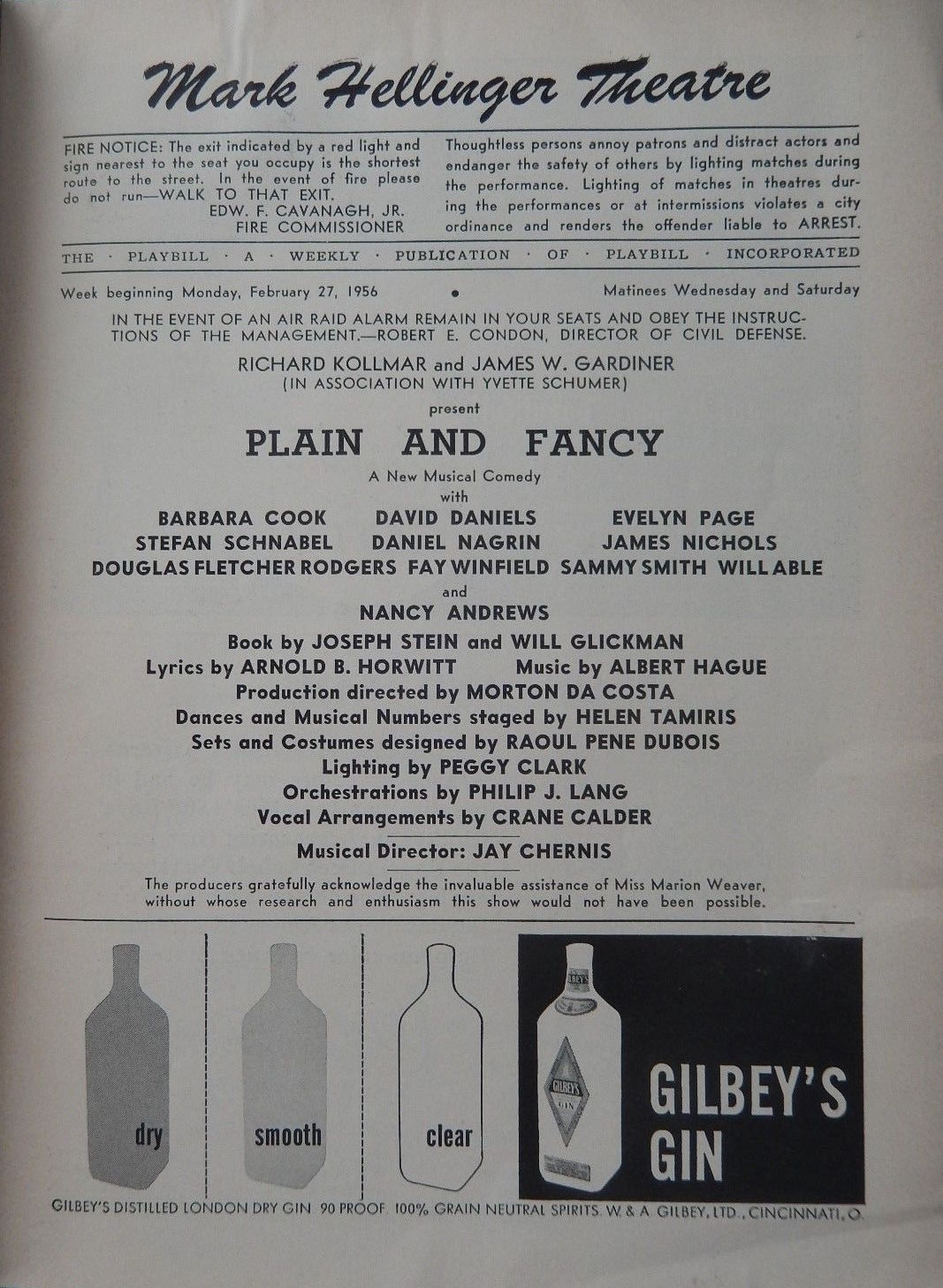 Plain and Fancy Playbill Title Page w Production